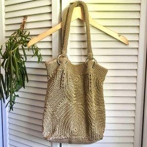 {Macrame} Tan Floppy Style Beach/Boho Shoulder Bag